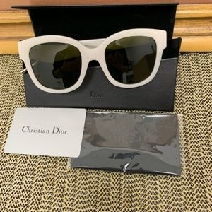Very Dior  White & Olive Green Oversize Sunglasses